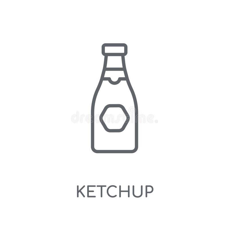 Linjär symbol för ketchup Modernt begrepp för översiktsketchuplogo på whit royaltyfri illustrationer