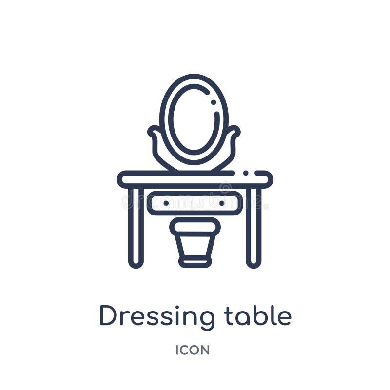Linjär symbol för klä tabell från lyxig översiktssamling Tunn linje symbol för dressingtabell som isoleras på vit bakgrund dressi vektor illustrationer