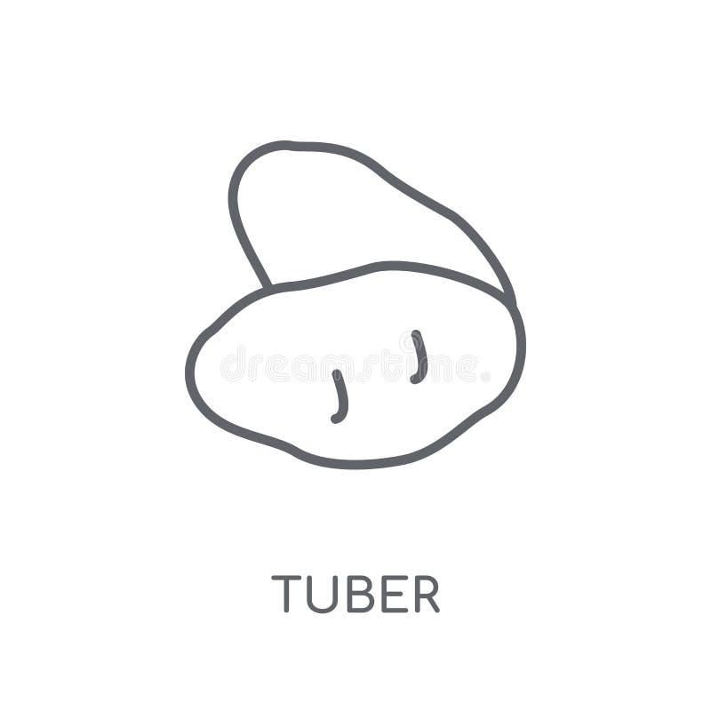 Linjär symbol för knöl Modernt begrepp för översiktsknöllogo på vita lodisar stock illustrationer
