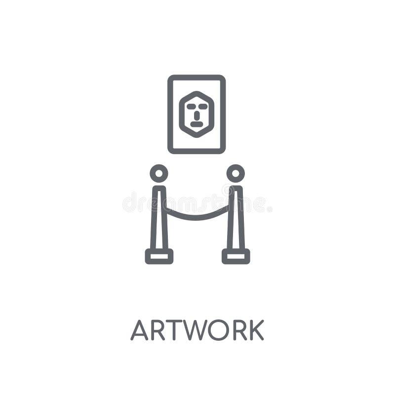 Linjär symbol för konstverk Modernt begrepp för översiktskonstverklogo på whit vektor illustrationer