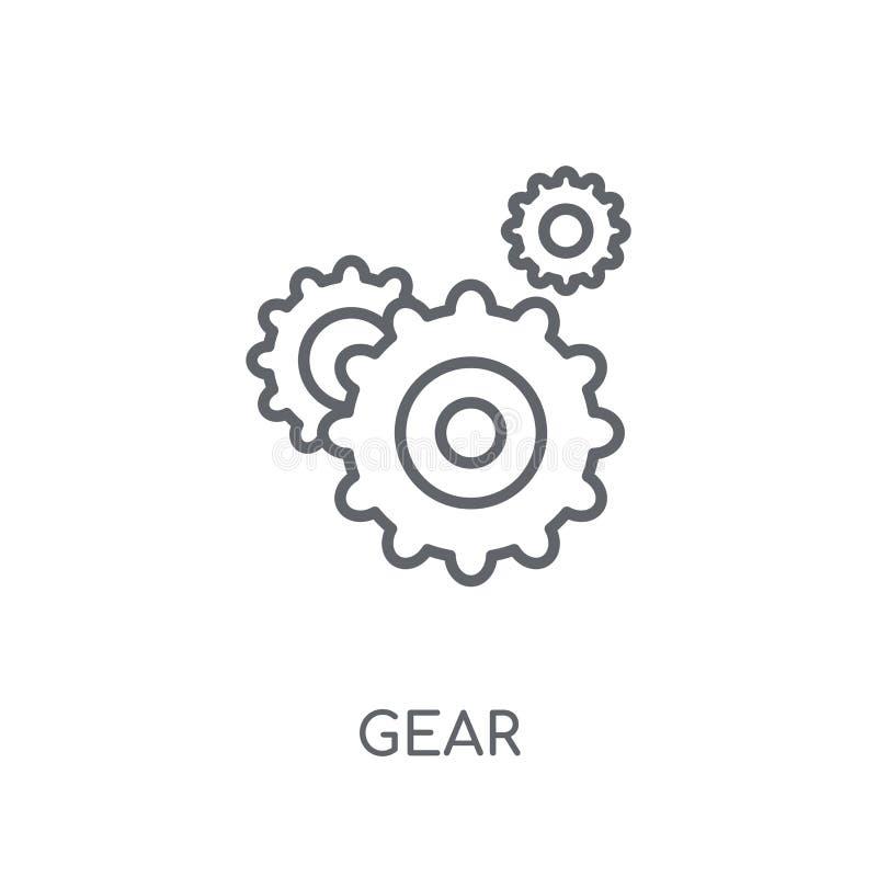 Linjär symbol för kugghjul Modernt begrepp för översiktskugghjullogo på vit baksida stock illustrationer
