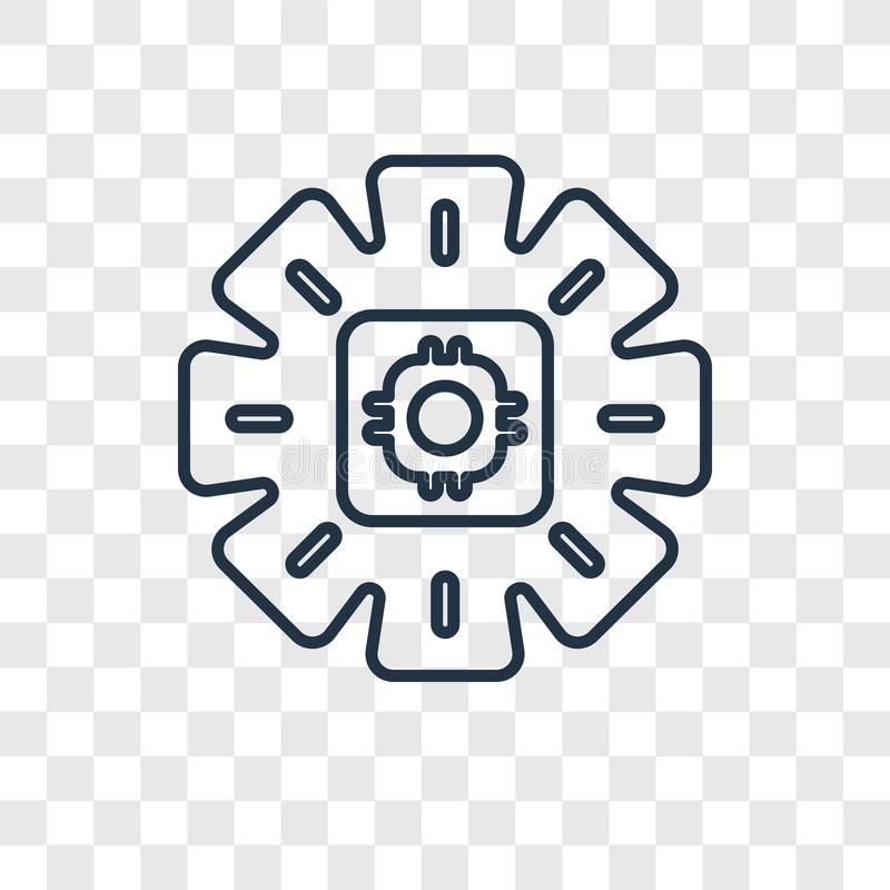Linjär symbol för kugghjulbegreppsvektor som isoleras på genomskinlig backgro royaltyfri illustrationer