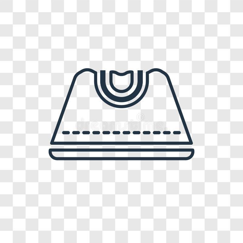 Linjär symbol för kvinnlig svart handväskabegreppsvektor som isoleras på tran royaltyfri illustrationer