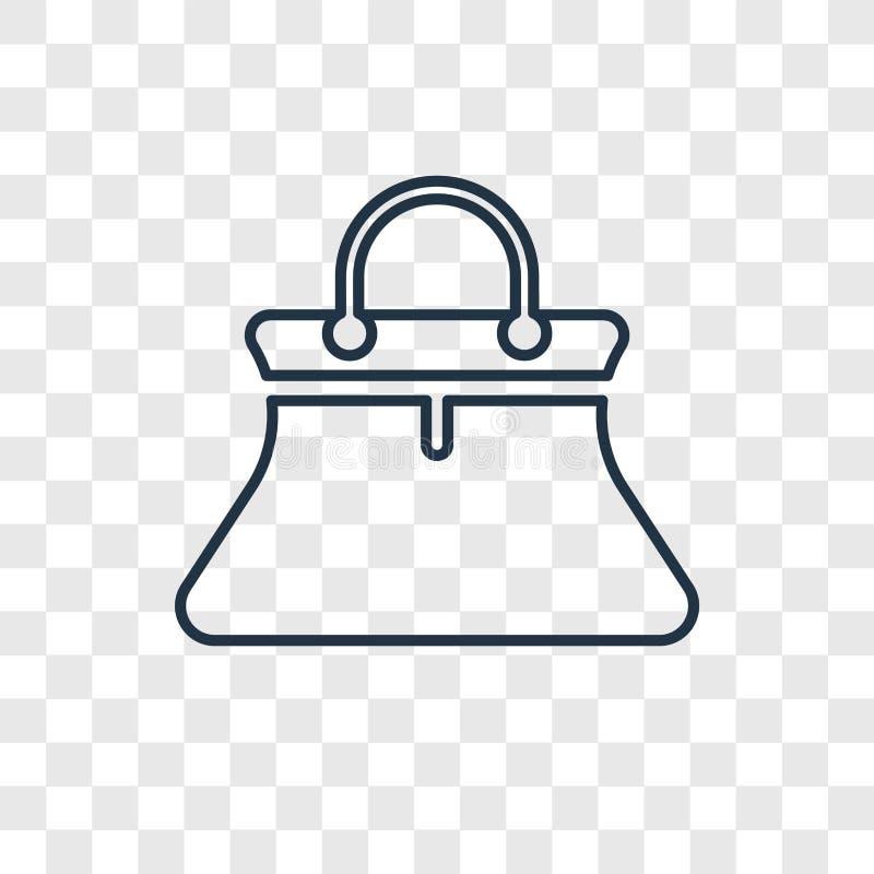 Linjär symbol för kvinnlig svart handväskabegreppsvektor som isoleras på tran stock illustrationer