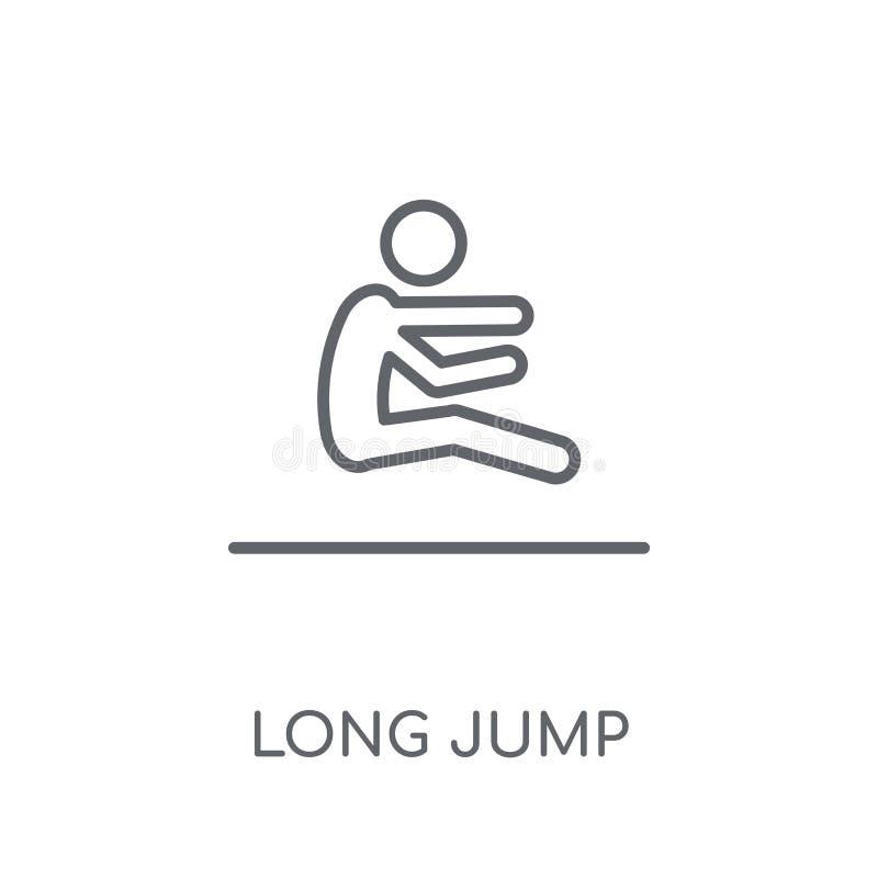 linjär symbol för längdhopp Modernt begrepp för översiktslängdhopplogo på royaltyfri illustrationer
