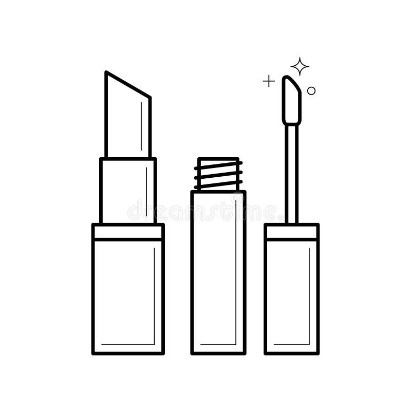 Linjär symbol för läppstift royaltyfri illustrationer
