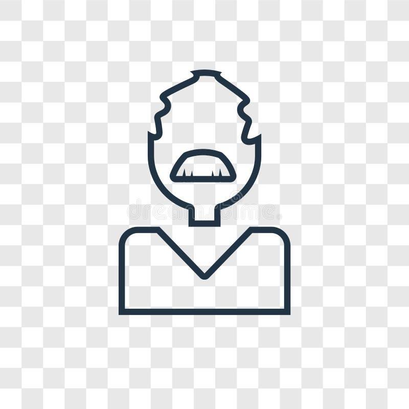 Linjär symbol för lärarebegreppsvektor på genomskinlig backg royaltyfri illustrationer