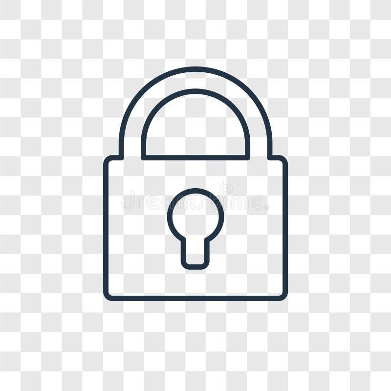 Linjär symbol för låsbegreppsvektor som isoleras på genomskinlig backgrou stock illustrationer