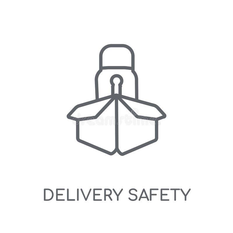linjär symbol för leveranssäkerhet Modern logo för översiktsleveranssäkerhet stock illustrationer