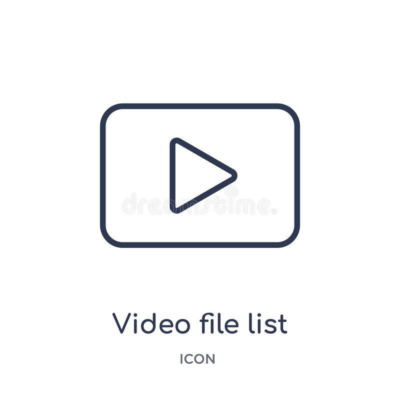 Linjär symbol för lista för videomapp från elektronisk samling för materialpåfyllningsöversikt Tunn linje vektor för lista för vi royaltyfri illustrationer