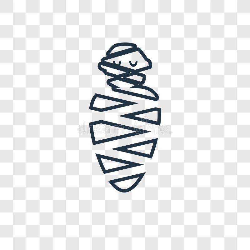 Linjär symbol för mammabegreppsvektor som isoleras på genomskinlig backgro vektor illustrationer