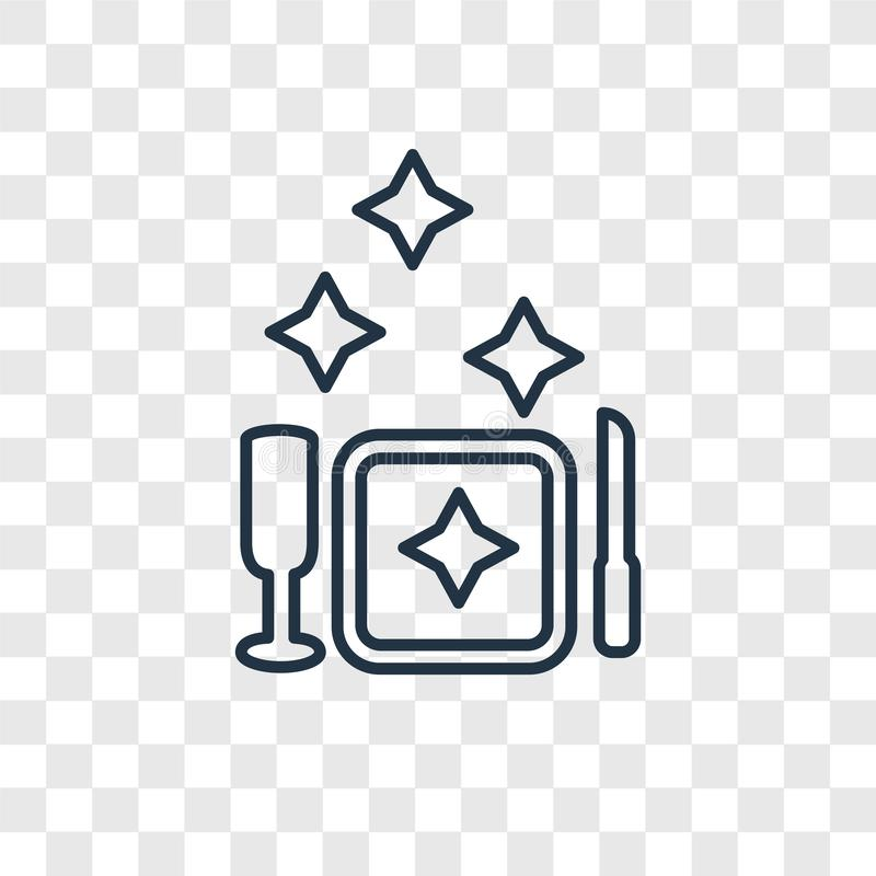 Linjär symbol för maträttbegreppsvektor som isoleras på genomskinlig backgrou stock illustrationer