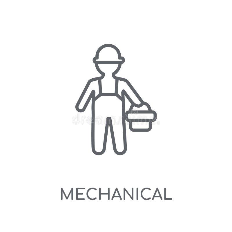 Linjär symbol för mekanisk tekniker Modern översikt mekaniska Engin royaltyfri illustrationer