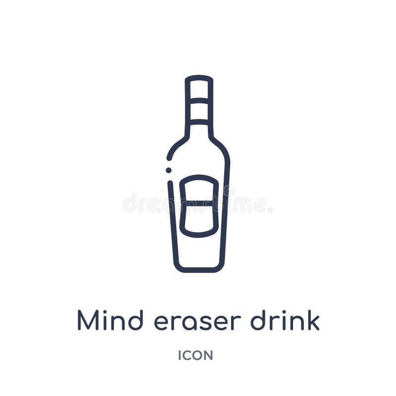 Linjär symbol för meningsradergummidrink från drinköversiktssamling Tunn linje vektor för meningsradergummidrink som isoleras på  vektor illustrationer