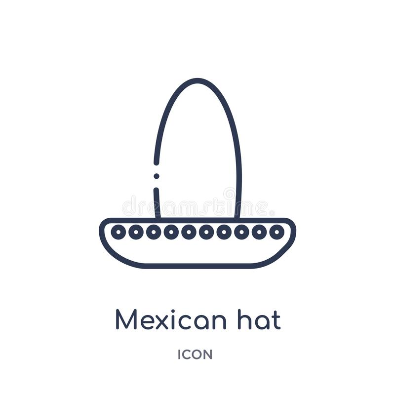 Linjär symbol för mexikansk hatt från ökenöversiktssamling Tunn linje vektor för mexikansk hatt som isoleras på vit bakgrund grön vektor illustrationer