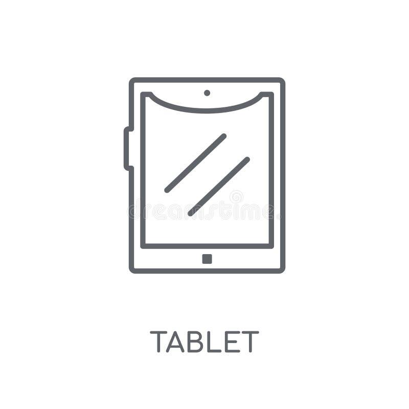 Linjär symbol för minnestavla Modernt begrepp för översiktsminnestavlalogo på vit royaltyfri illustrationer