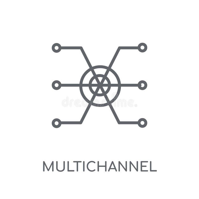 Linjär symbol för Multichannel marknadsföring Multichannel modern översikt stock illustrationer