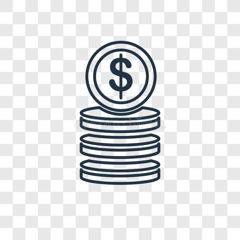 Linjär symbol för myntbegreppsvektor som isoleras på genomskinlig backgrou stock illustrationer