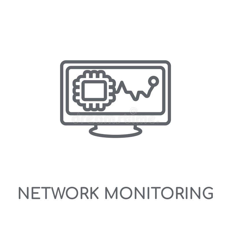 linjär symbol för nätverksövervakning Modernt översiktsnätverk Monitorin vektor illustrationer