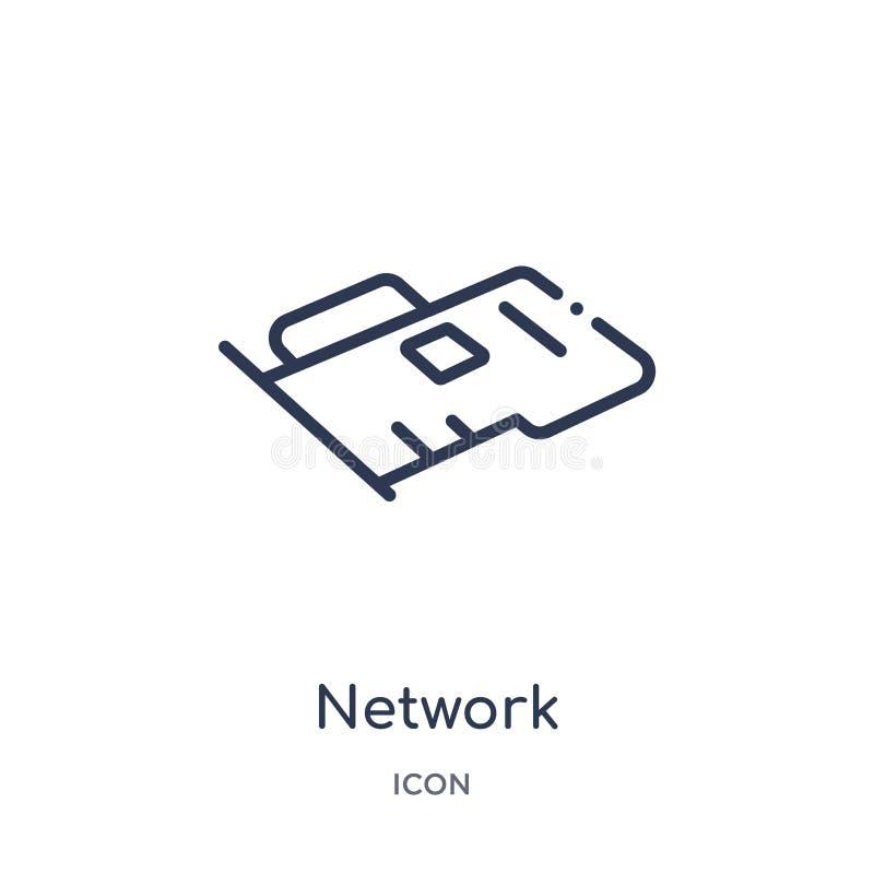 Linjär symbol för nätverksmanöverenhetskort från maskinvaruöversiktssamling Tunn linje symbol för nätverksmanöverenhetskort som i vektor illustrationer