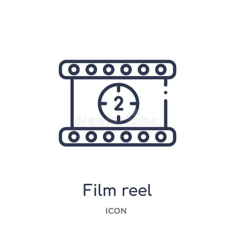 Linjär symbol för nummer 2 för nedräkning för filmrulle från bioöversiktssamling Tunn linje vektor för nummer 2 för nedräkning fö vektor illustrationer