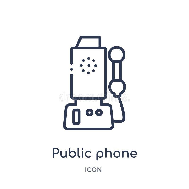 Linjär symbol för offentlig telefon från Comunation översiktssamling Tunn linje vektor för offentlig telefon som isoleras på vit  stock illustrationer