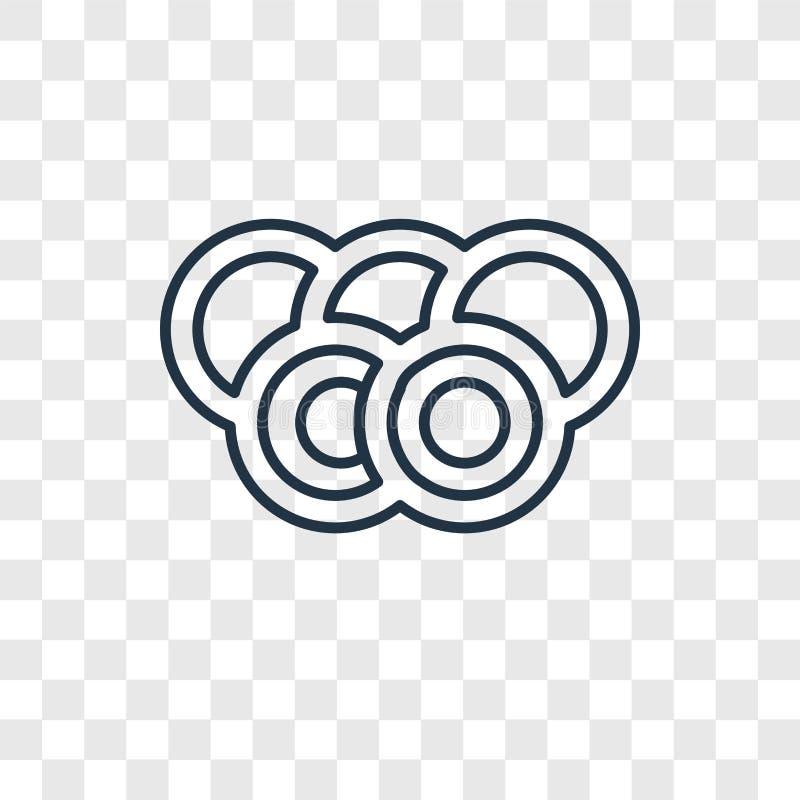 Linjär symbol för Olympia begreppsvektor som isoleras på genomskinlig backg stock illustrationer
