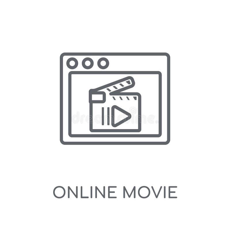 Linjär symbol för online-film För filmlogo för modern översikt online-conce vektor illustrationer