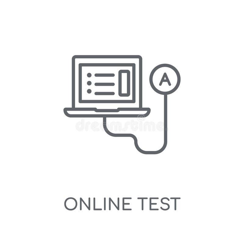 Linjär symbol för online-prov Modernt begrepp för översiktsonline-provlogo stock illustrationer