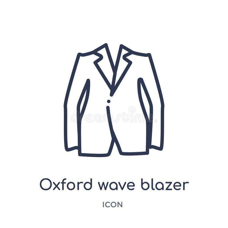 Linjär symbol för oxford vågblazer från kläderöversiktssamling Tunn linje vektor för oxford vågblazer som isoleras på vit bakgrun vektor illustrationer