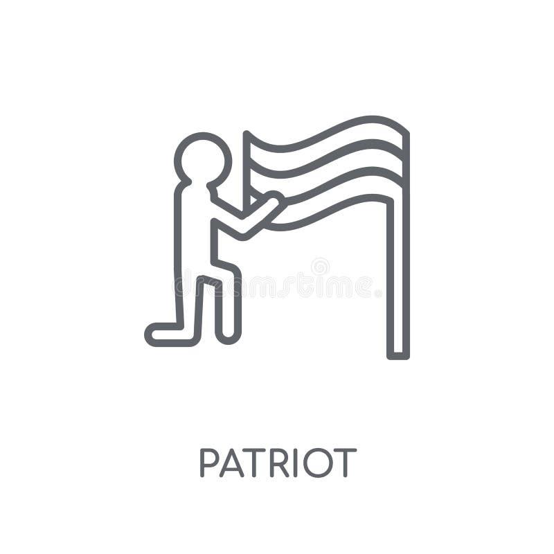 Linjär symbol för patriot Modernt begrepp för översiktspatriotlogo på whit vektor illustrationer