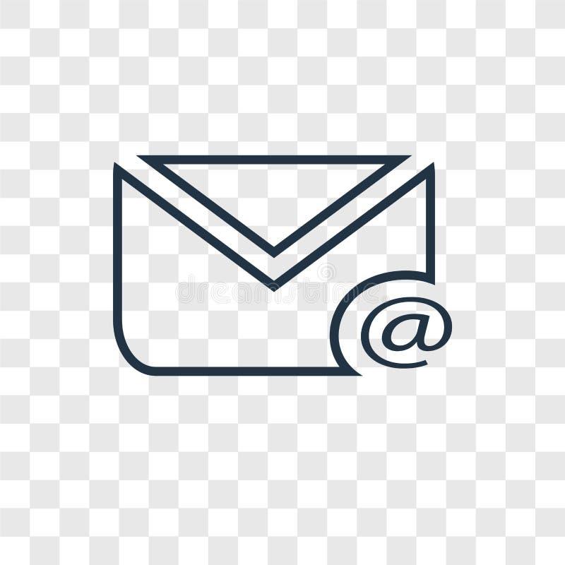 Linjär symbol för postbegreppsvektor som isoleras på genomskinlig backgrou stock illustrationer