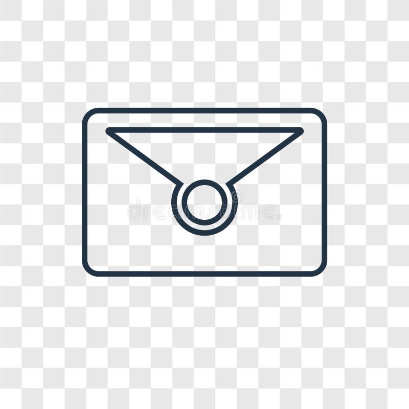 Linjär symbol för postbegreppsvektor som isoleras på genomskinlig backgrou royaltyfri illustrationer