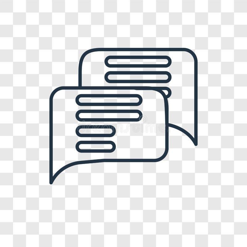 Linjär symbol för pratstundbegreppsvektor som isoleras på genomskinlig backgrou stock illustrationer