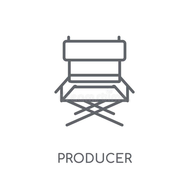 linjär symbol för producent Modernt begrepp för översiktsproducentlogo på wh royaltyfri illustrationer