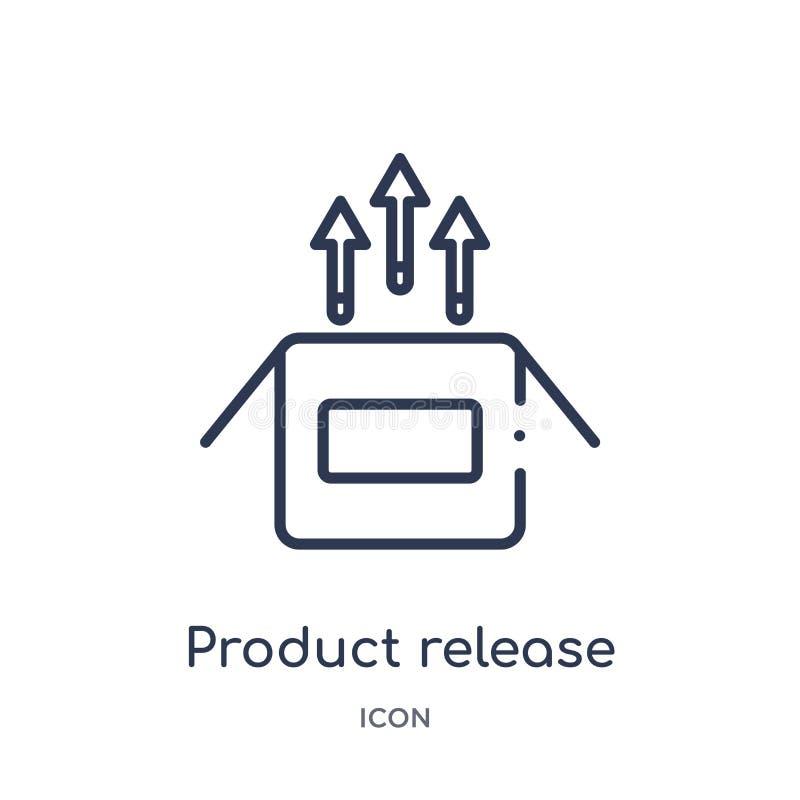 Linjär symbol för produktfrigörare från samling för allmän översikt Tunn linje symbol för produktfrigörare som isoleras på vit ba vektor illustrationer
