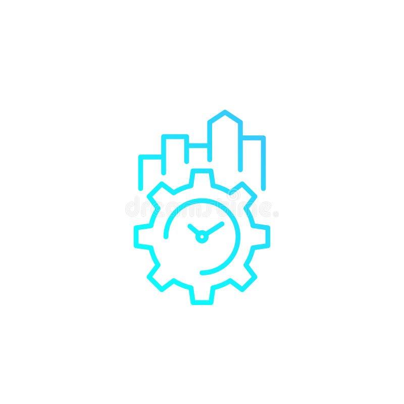 Linjär symbol för produktivitet och för effektivitet stock illustrationer