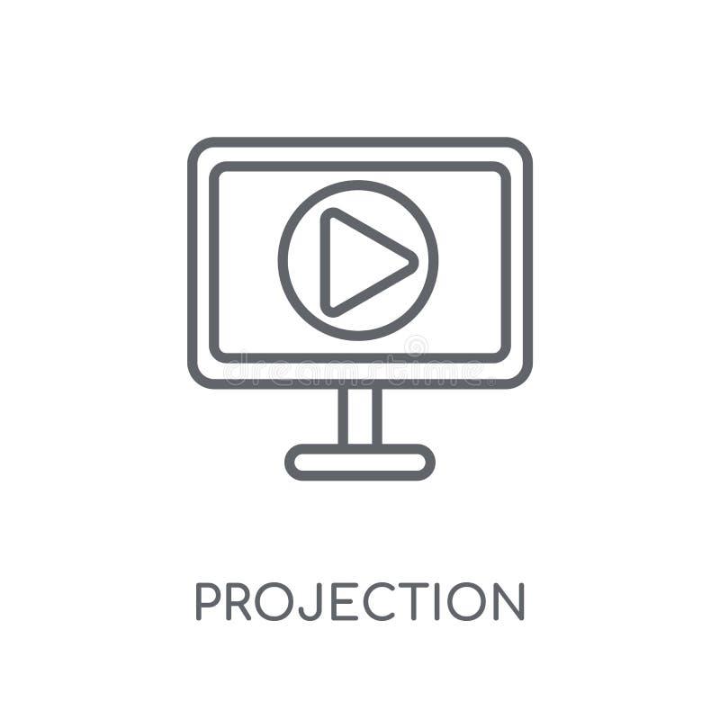 Linjär symbol för projektion Modern nolla för begrepp för översiktsprojektionslogo vektor illustrationer