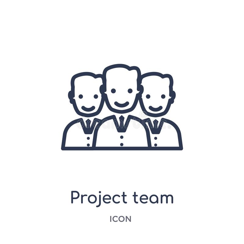 Linjär symbol för projektlag från samling för allmän översikt Tunn linje symbol för projektlag som isoleras på vit bakgrund Proje royaltyfri illustrationer