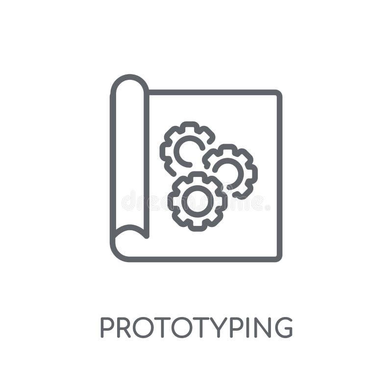 linjär symbol för prototyping Modernt begrepp för översiktsprototypinglogo royaltyfri illustrationer
