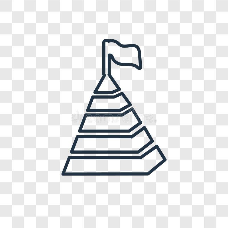 Linjär symbol för pyramidbegreppsvektor som isoleras på genomskinlig backg vektor illustrationer