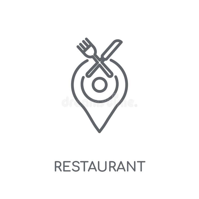 Linjär symbol för restaurang Modern nolla för begrepp för översiktsrestauranglogo royaltyfri illustrationer