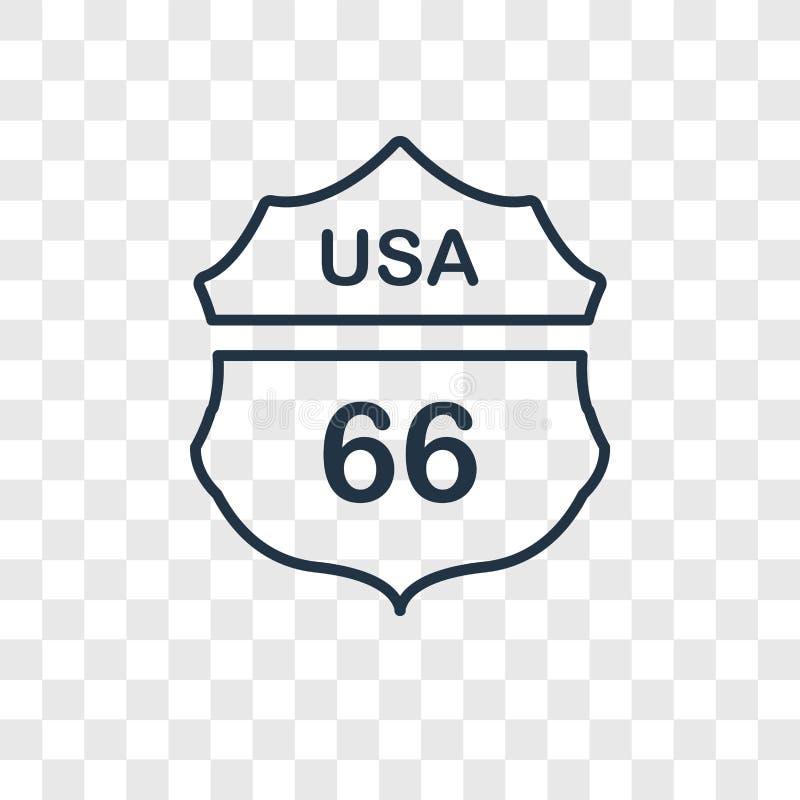 Linjär symbol för Route 66 begreppsvektor som isoleras på genomskinlig baksida vektor illustrationer