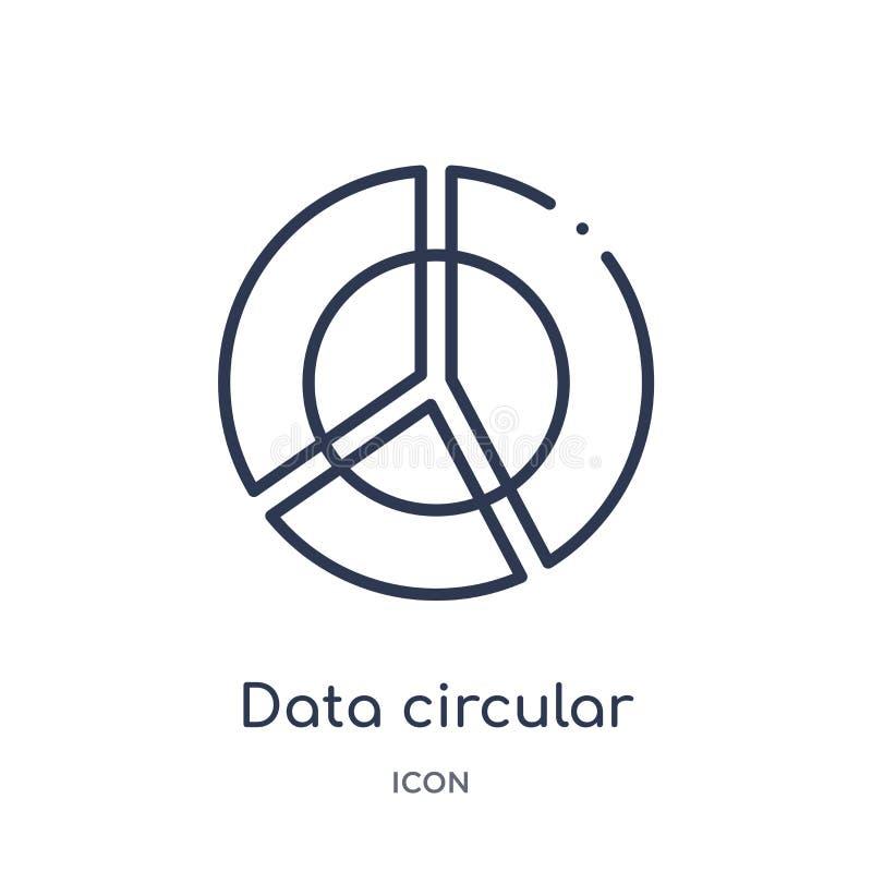 Linjär symbol för runt diagram för data från affärs- och finansöversiktssamling Tunn linje symbol för runt diagram för data som i stock illustrationer