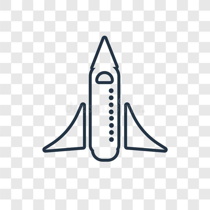 Linjär symbol för rymdfärjabegreppsvektor som isoleras på genomskinligt stock illustrationer