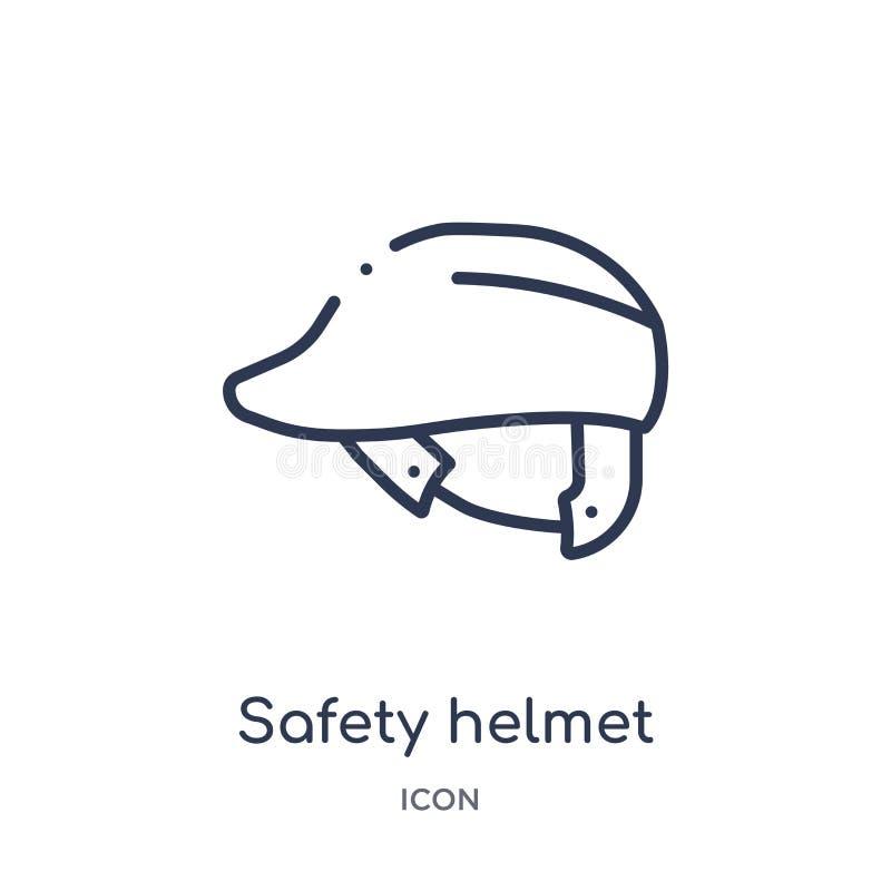 Linjär symbol för säkerhetshjälm från samling för konstruktionshjälpmedelöversikt Tunn linje vektor för säkerhetshjälm som isoler stock illustrationer
