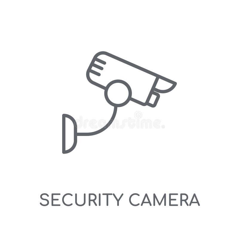 Linjär symbol för säkerhetskamera Modern logo för översiktssäkerhetskamera royaltyfri illustrationer