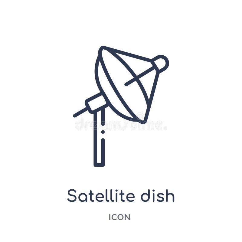 Linjär symbol för satellit- maträtt från Comunation översiktssamling Tunn linje vektor för satellit- maträtt som isoleras på vit  vektor illustrationer
