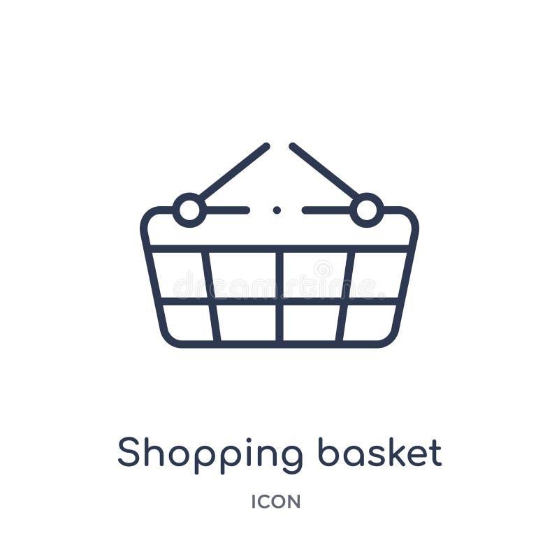 Linjär symbol för shoppa korg från fotbollöversiktssamling Tunn linje vektor för shoppingkorg som isoleras på vit bakgrund stock illustrationer