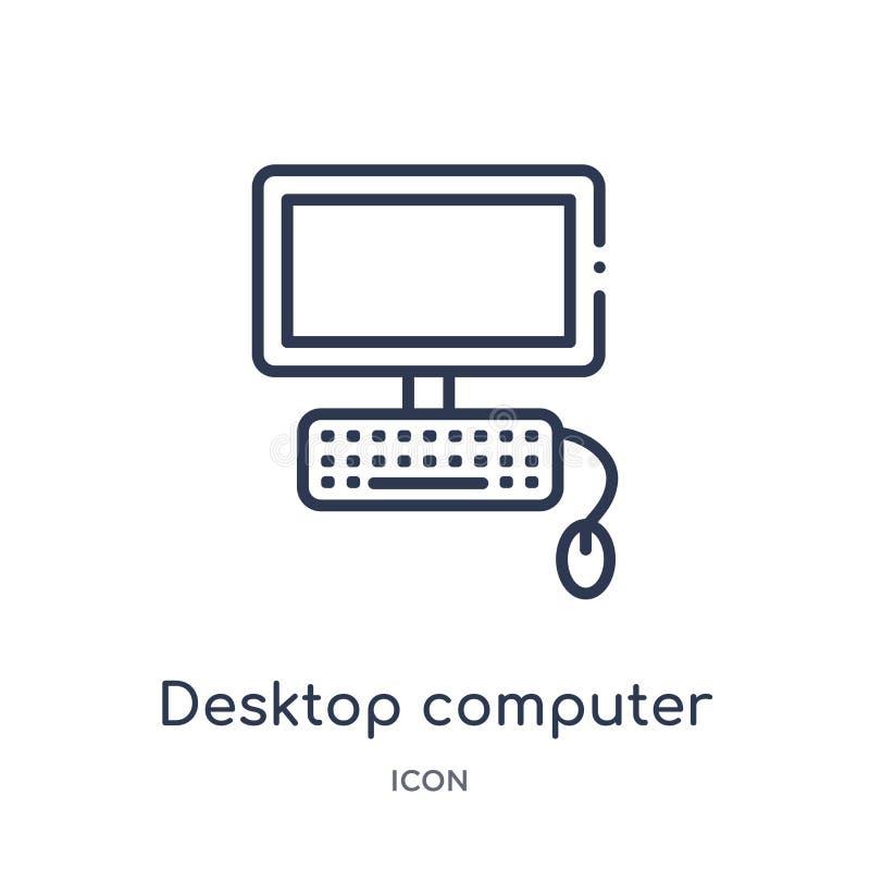 Linjär symbol för skrivbords- dator från utbildningsöversiktssamling Tunn linje vektor för skrivbords- dator som isoleras på vit  stock illustrationer